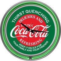 Trademark Global 14 in. Coca Cola Red and Green Neon Wall Clock-coke-1400-v15 at The Home Depot