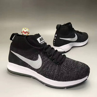 """""""NIKE"""" Fashion Casual Multicolor Knit Fly Line Men High Help Sneakers Running Shoes"""