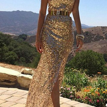 Golden Sequined Strapless Side Slit Maxi Dress