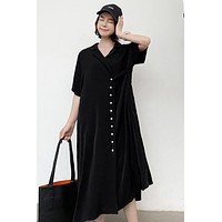 SuperAen Solid Plus Size Notched Loose Short Sleeve New A-line Slim Dress for Women