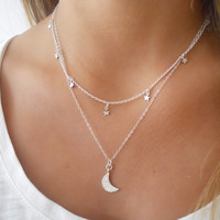 Crescent Moon and Tiny Stars Necklace Set ; Sterling Silver Layering Necklace Set ; Moon And Star Silver Necklace  Set ;