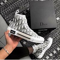 Dior CD fashion net yarn letters high-top shoes trendy men and women's sneakers casual sports shoes