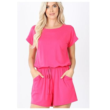 Cozy Brushed DTY Pink Romper with Pockets