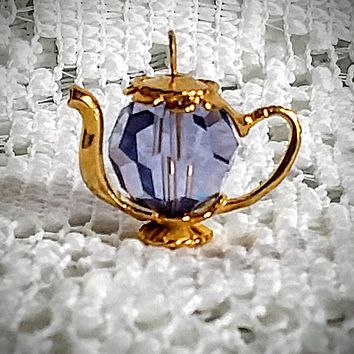Gold Vermeille Light Amethyst Swarovski Crystal Teapot Charm Pendant Includes Free Chain