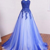 Royal Blue White Puffy A-line Long Tulle Prom Dresses Gowns 2016 Sweetheart Beaded Lace Appliques Evening Wear Vestidos De Festa