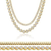"""Jewelry Kay style Men's Women's Gold Toned Iced 20"""" Flower Chain & 16"""" Tennis Chain Necklace Set"""