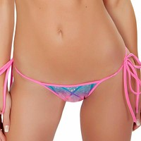 Pink and Blue Laser Tie Bikini Bottoms