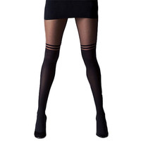 Women Black Sexy Temptation Sheer Mock Suspender Tights Pantyhose Stockings Cool Mock Over The Knee Double Stripe Sheer Tights