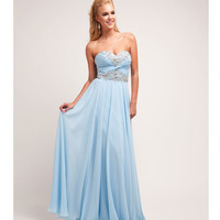 Preorder -  Sky Blue Chiffon & Beaded Strapless Gown 2015 Prom Dresses
