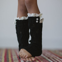 Toddler Knitted Leg Warmers - Little Girl's Lace Trim Socks Open Knit Leg Warmers with Buttons for Toddlers & Little Girls in Black
