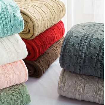 EGHOMES Men's & Women's High Quality 100% Cotton Soft Knitted Blanket & Throw