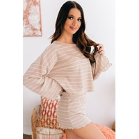 Simple And Easy Striped Waffle Knit Two Piece Set (Taupe/White)