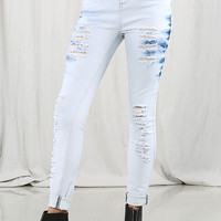 High Waisted Distressed Wash Jeans