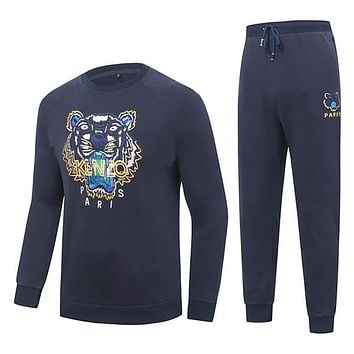 Boys & Men Kenzo Fashion Casual Top Sweater Pullover Hoodie Pants Trousers Set Two-Piece
