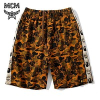 MCM X BAPE joint name tide brand camouflage desert shorts brown