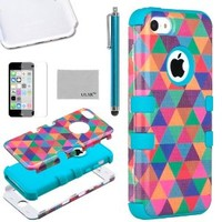 iPhone 5C Case Cover, ULAK 3in1 Fashion Hybrid High Impact Soft Silicone and Hard PC Case Cover for Apple iPhone 5C Triangle Pattern With Screen Protector and Stylus (In love with/Blue)