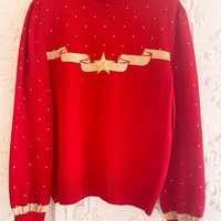 Red Vintage St. John Sweater With Gold Embellishments