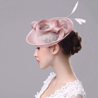 Mesh Hat Wedding Women Fascinator Penny Mesh Hat Ribbons And Feathers Party Hat