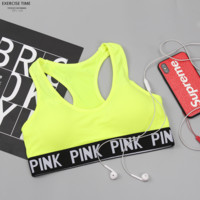 Victoria PINK new fashion sports underwear letter print bra fitness running wrapped chest beauty back vest underwear Fluorescent green