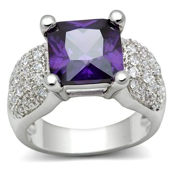 Simple Rings 3W148 Rhodium Brass Ring with AAA Grade CZ in Amethyst