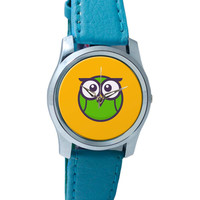 Cute Quirky Owl Illustration Wrist Watch