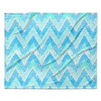 "Marianna Tankelevich ""Mint Snow Chevron"" Blue Chevron Fleece Throw Blanket"