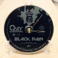 CD Clock, Desk Clock, Wall Clock, Ozzy Ozbourne, Recycled Music Compact Disc, Upcycle, Battery, #2,  Wall Hanger & Stand ALL INCLUDED