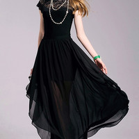 Embellished Lace & Chiffon Gown