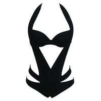 2016 New Arrival Summer Black Halter one piece Swimwear polyester Lycra one-piece swimsuit piece swimsuit girl swimsuit style