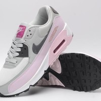 NIKE AIR MAX 90 fashion ladies men running sports shoes sneakers F-PS-XSDZBSH Light grey and light powder