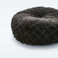 Round Black Pintuck Cushion - Urban Outfitters