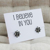 I Believe in You Gift Card Stud Alloy Fashion Crystal Vintage Jewelry Family and Friend Gift Woman Fashion Earrings