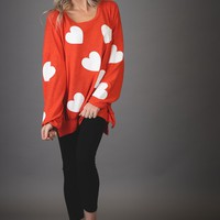 Kind Heart Oversized Top in RED