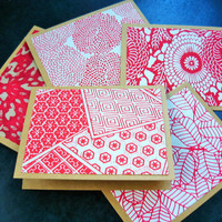 Eco Friendly Blank Cards Set of 5, Reycled Kraft Paper, Any Occasion Cards, Thank You Cards, Silk Screen Paper, Stationery