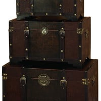 Set of 3 Old Time Classic Leather and Wood Chest Trunk