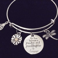 The Love between Grandma and Grandmother is Forever Expandable Charm Bracelet Adjustable Bangle Gift Daisy Dragonfly Little Lady Bug