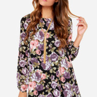 Lucca Couture Lovely In Bloom Black Floral Print Dress