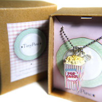 Miniature Food Necklace: Popcorn with crystal glass bead