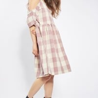**Gingham Cold Shoulder Dress by Glamorous - Brands at Topshop - Clothing