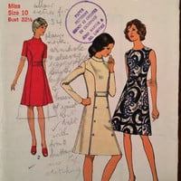 "Vintage Style Sewing Pattern 3718 for ""Miss Petites and Misses Dressr"" From 1972 / Size 10 Bust 32.5"