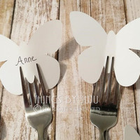 """50 Extra Large White Paper Butterflies, 3 Inch Butterfly Placecards, Butterfly Party, DIY Wedding Place Card (3 x 2 1/2"""")"""
