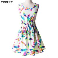 YRRETY Woman Beach Dress Summer Boho Print Clothes Sleeveless Party Dress Casual Short Sundress Plus Size Floral Dress 2019