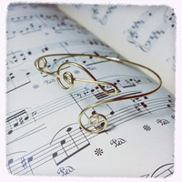 Christmas Sale!Coupon Code 20OFF! handmade note treble clef and bass clef bangle bracelet note music lover teacher gift gold wire jewelry