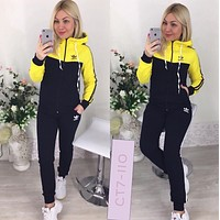 Adidas Women Long Sleeve Shirt Sweater Pants Sweatpants Set Two-Piece