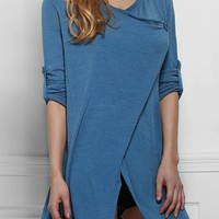 Casual Blue Plain Irregular V-neck Casual Cotton Cardigan Sweater