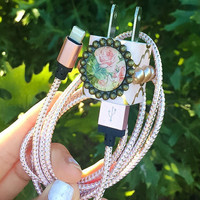 Rose Gold Flower Pearl Iphone 5 6 7 Charger