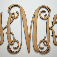 """Home Decor, 24"""" or 32"""" Wooden Monogram, Wall Art, Initial monogram,Unpainted, Unfinished,Wedding Decor"""