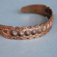 Vintag Copper Cuff Bracelet Native American Design Bell Trading Post Southwestern Adjustable One Size 1950's // Vintage Costume Jewelry