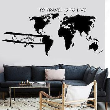 Wall Mural World Map Atlas Airplane Quote To Travel Is To Live Vinyl Unique Gift (z2841)
