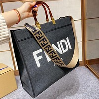 Fendi Sunshine Shopper Sunshine Tote Bag Classic FF Letter Print Handbag Shopping Bag Fashion Ladies Shoulder Bag